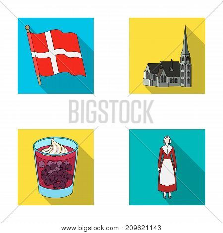 Flag, national, symbol, and other  icon in flat style.Denmark, history, tourism icons in set collection