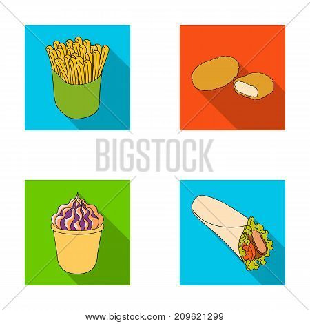 Food, refreshments, snacks and other  icon in flat style.Packaging, paper, potatoes icons in set collection.