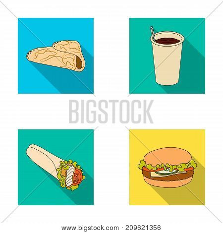 Fast, meal, eating and other  icon in flat style.Pancakes, flour, products, icons in set collection