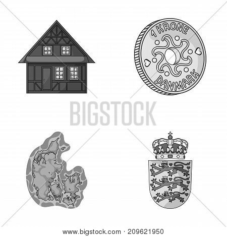 House, residential, style, and other  icon in monochrome style. Country, Denmark, sea icons in set collection