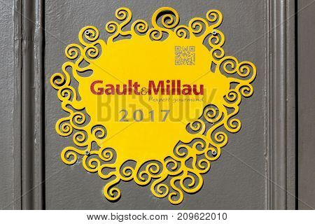 Lyon, France - September 20, 2017: Gault et Millau logo. Gault et Millau is an influential French restaurant guide. It was founded by two restaurant critics, Henri Gault and Christian Millau in 1965