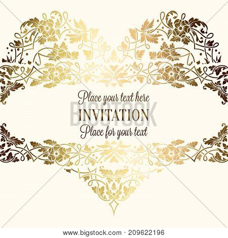 Intricate Baroque Luxury Wedding Invitation Card, Rich Gold Decor On Beige Background With Frame And