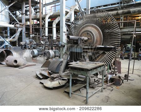 Power Generator Steam Turbine During Repair At Power Plant