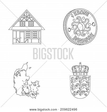House, residential, style, and other  icon in outline style. Country, Denmark, sea icons in set collection