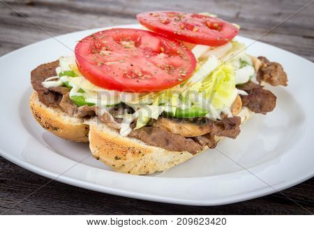 beef sub sandwich philly steak with mushroom and cheese