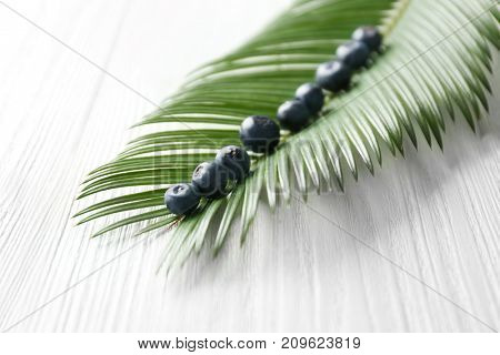 Fresh acai berries and palm leaf on wooden table