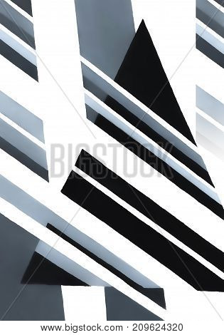 Decorative abstract black - white - gray triangle with stripes and lines