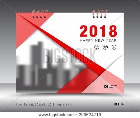 Cover calendar 2018 template, Red cover business brochure flyer design, advertisement, booklet, annual report  layout.