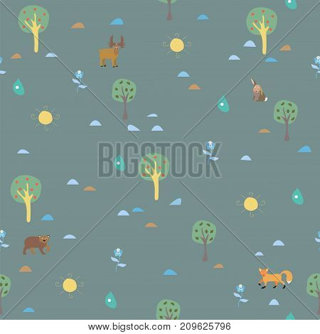 Cute Summer Pattern with trees and animals on modern background. Summer Collection. Vector Illustration.