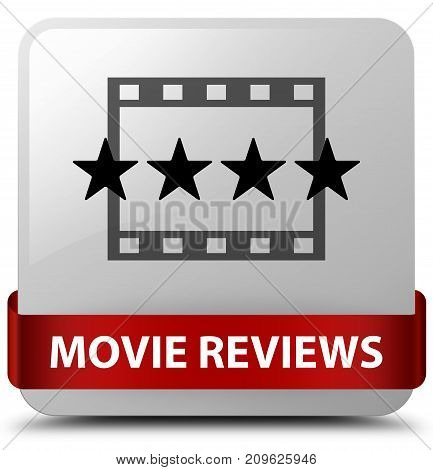 Movie Reviews White Square Button Red Ribbon In Middle