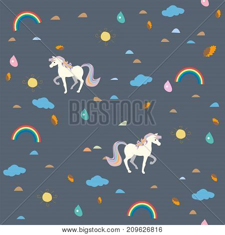 Cute Seamless Pattern with Small Unicorns, clouds and rainbows. Childish Design. Vector Illustration.