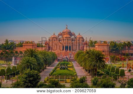 Jaipur, India - September 19, 2017: Akshardham Temple in New Delhi, India. Akshardham or Swaminarayan Akshardham complex is a Hindu mandir and a spiritual-cultural campus in India.