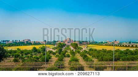 Jaipur, India - September 19, 2017: Beautiful landscape of Akshardham Temple in New Delhi, India. Akshardham or Swaminarayan Akshardham complex is a Hindu mandir and a spiritual-cultural campus in India.