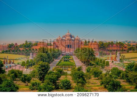 Jaipur, India - September 19, 2017: Beautiful landscape of Akshardham Temple in New Delhi, India. Akshardham or Swaminarayan Akshardham complex is a Hindu mandir and a spiritual-cultural campus in India.