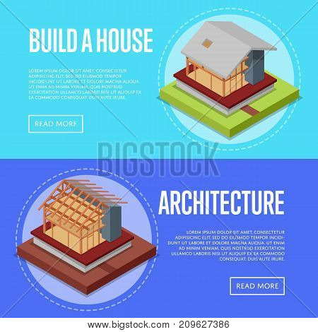 Countryside house architecture posters. House framework construction, walls and roof installation vector illustration. Construction stages of house, real estate development isometric 3D concept