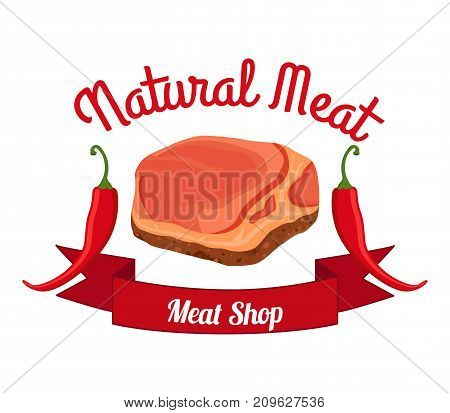 Fresh meat, pepper label, logo. Farm product. Made in cartoon flat style. Vector illustration