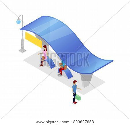 Downtown transport stop isometric 3D icon. City public transportation concept, modern town waiting station, urban and countryside traffic vector illustration.