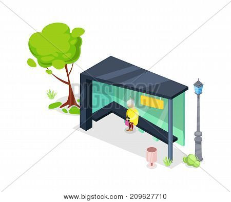 City transport stop isometric 3D icon. Public transportation concept, modern town waiting station, urban and countryside traffic vector illustration.