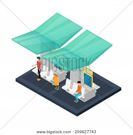Town waiting station isometric 3D icon. City public transportation concept, downtown transport stop, urban and countryside traffic vector illustration.
