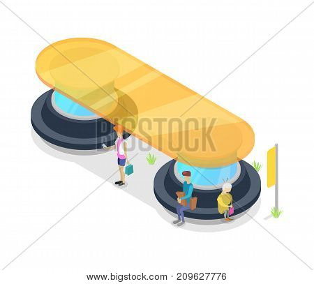 Transport passenger platform isometric 3D icon. Public transportation concept, modern town waiting station, urban and countryside traffic stop vector illustration.