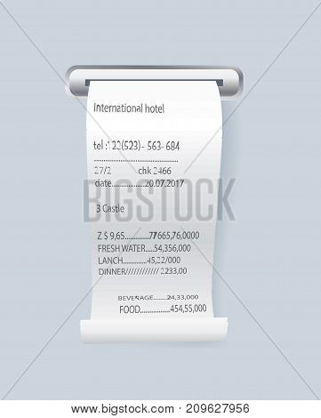 Paper print check vector element. Shop reciept, retail bill isolated object. Realistic financial atm check, receipt records sale of goods or provision of service.