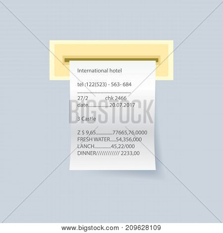 Bank paper print check vector element. Retail bill isolated object, realistic financial atm check, receipt records sale of goods or provision of service.