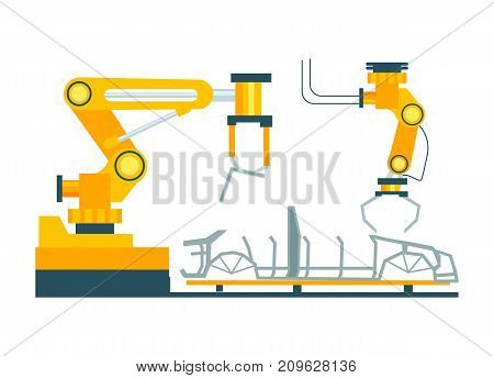 Conveyor for assembly of cars element. Modern engineering systems, automobile production line, car manufacturing process vector illustration.
