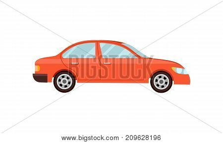 Modern red car isolated vector illustration on white background. Comfortable family auto vehicle, people city transport in flat design