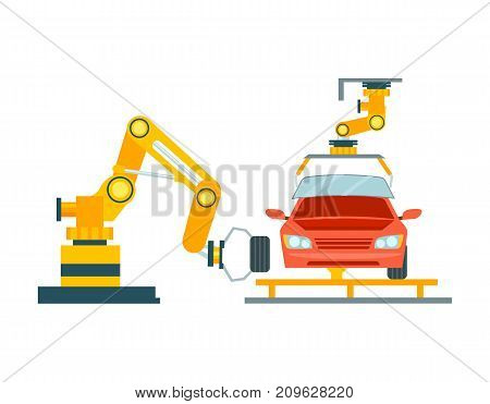 Smart robotic automotive assembly line. Modern engineering systems, automobile production line, car manufacturing process vector illustration.