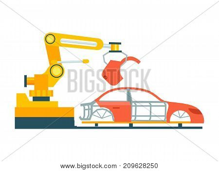 Smart robotic automobile production line. Modern engineering systems, automotive assembly line, car manufacturing process vector illustration.