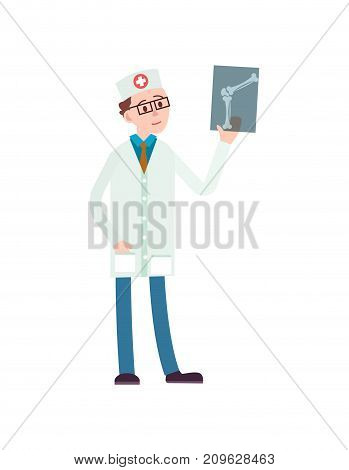 Young doctor with x-ray icon. Medical treatment and healthcare, clinical analysis, treatment of bone fractures vector illustration