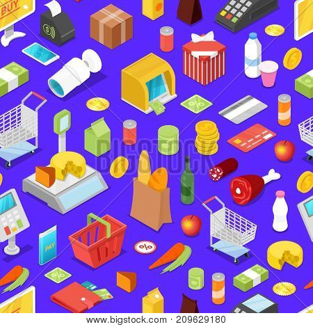 Supermarket shopping isometric seamless pattern. Food, drinks, money, credit card, payment terminal, shopping basket, trolley cart, cardboard box, cashbox, scales, smartphone vector illustrations.