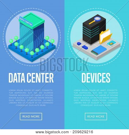 Data center and computer devices isometric posters. Global communication network, cloud database, computer technology, data security. Data storage with hosting servers equipment vector illustration