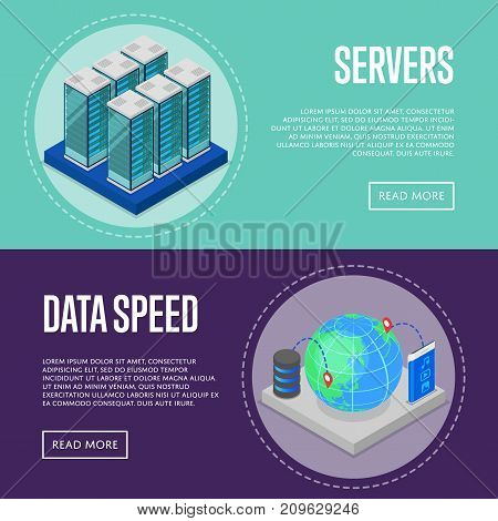 High speed communication service isometric posters. Global communication network, cloud database, computer technology, data security. Data center with hosting servers equipment vector illustration