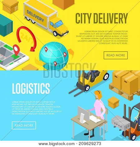 City delivery and warehouse logistics isometric posters. Freight shipping and distribution, fast delivery transportation, warehouse management. Commercial cargo transportation vector illustration.