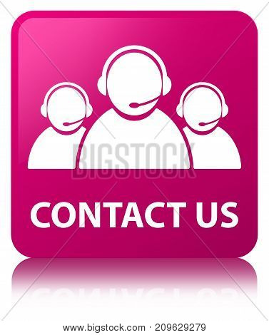 Contact Us (customer Care Team Icon) Pink Square Button