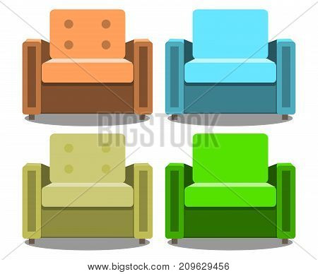 Vector set of armchairs front view isolated on white background. Realistic Modern armchair . EPS10