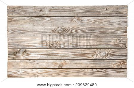 Wooden background with natural wood pattern. Grungy rustic wooden desk isolated on white background