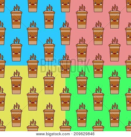 Seamless pattern set with coffee cup cute kawaii characters on colors backgrounds. Flat design Vector Illustration eps10