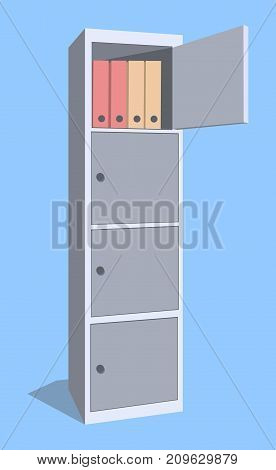 Steel cabinet for locker office. The security storage detailed single object realistic design vector illustration eps10