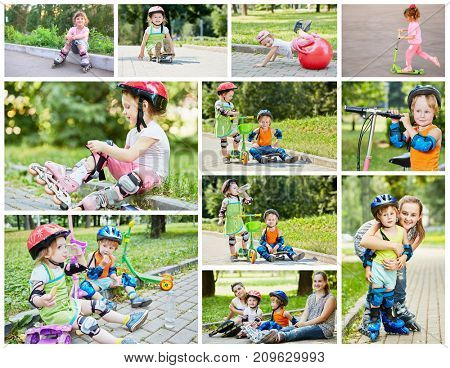 Collage with six people on roller skates and scooter - four children and two teens
