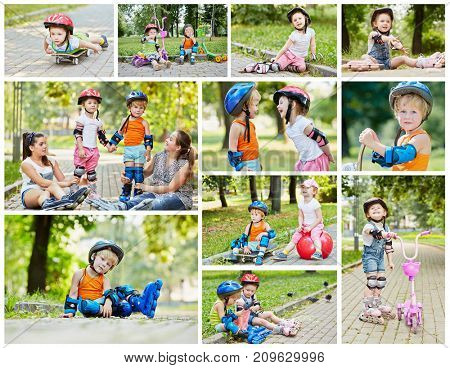 Collage with four people on roller skates, skateboard and scooters - two children and two teens