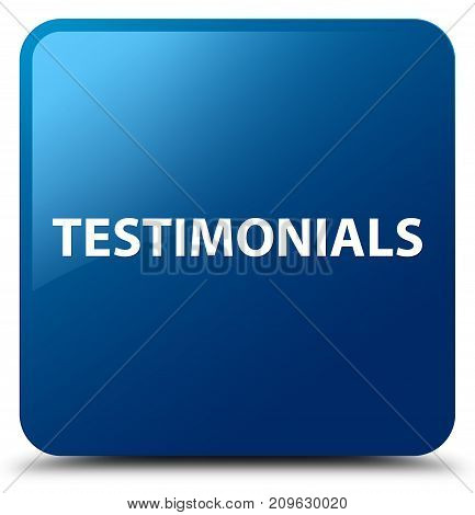 Testimonials Blue Square Button