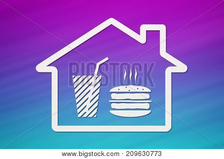 Paper house with burger and beverage inside on colorful background fastfood concept. Abstract food conceptual image