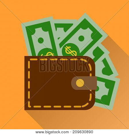 Flat wallet with cash.  illustration, icon with long shadow. Modern design