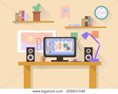 Workplace with modern computer on table.  illustration.