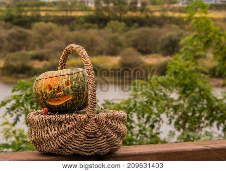 Jack-o-lantern In Wicker Basket