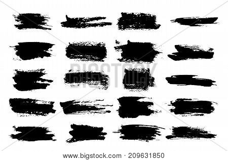 Brush watercolor or horizontal, linear black ink scratches, blob or brushstroke scribble, paintbrush stroke or highlighter for stamp, painted trace of dye. Frame for highlighting theme
