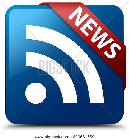 News (rss Icon) Blue Square Button Red Ribbon In Corner