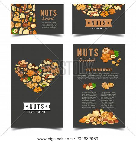 Banners or badges, posters for vegetarian nuts food. Vegan almond and kernel of almond. Protein nutrition and farming, botany and gourmet, vegan food theme. Signs for market or shop, store